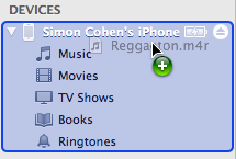 Drag the ringtone onto the iPhone